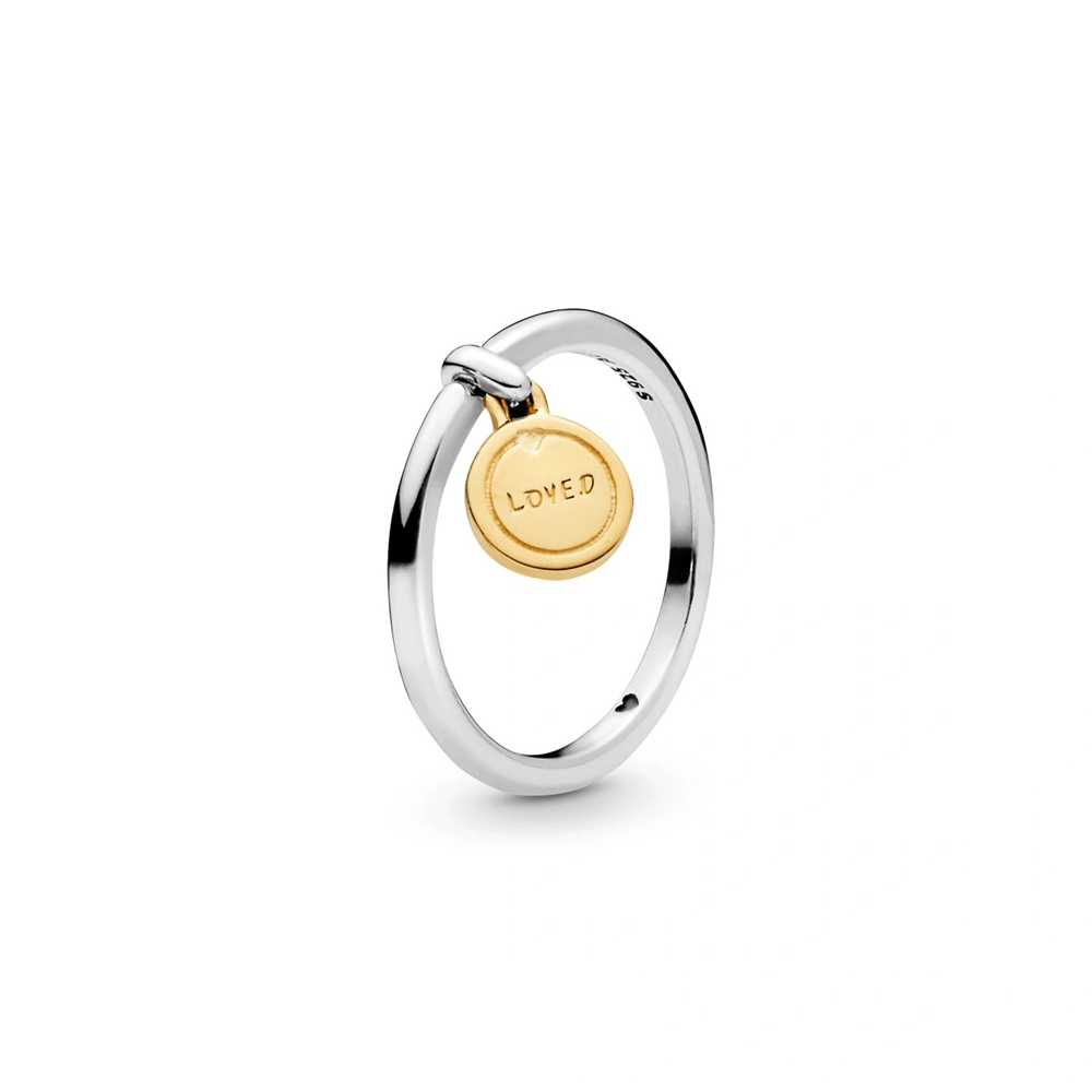 טבעת כסף בשילוב SHINE מדליון אהבה