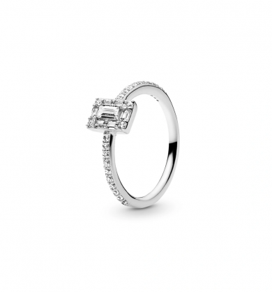 טבעת עלים נוצצים כסף וזרקונים
