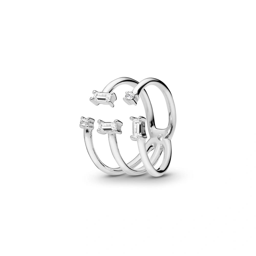 טבעת כסף שברי קרח מנצנצים