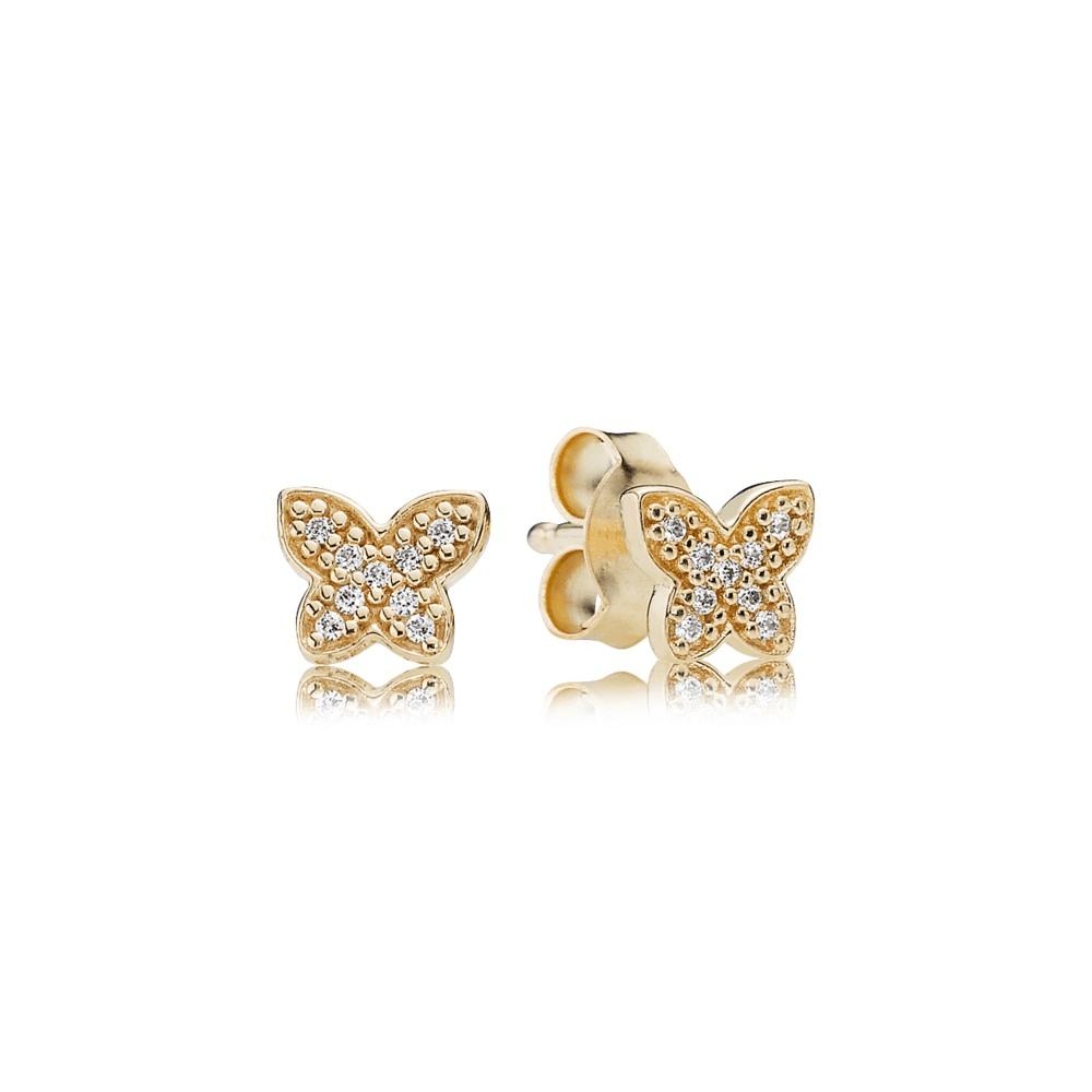 עגילי זהב פרפר מעודן בשיבוץ זרקונים