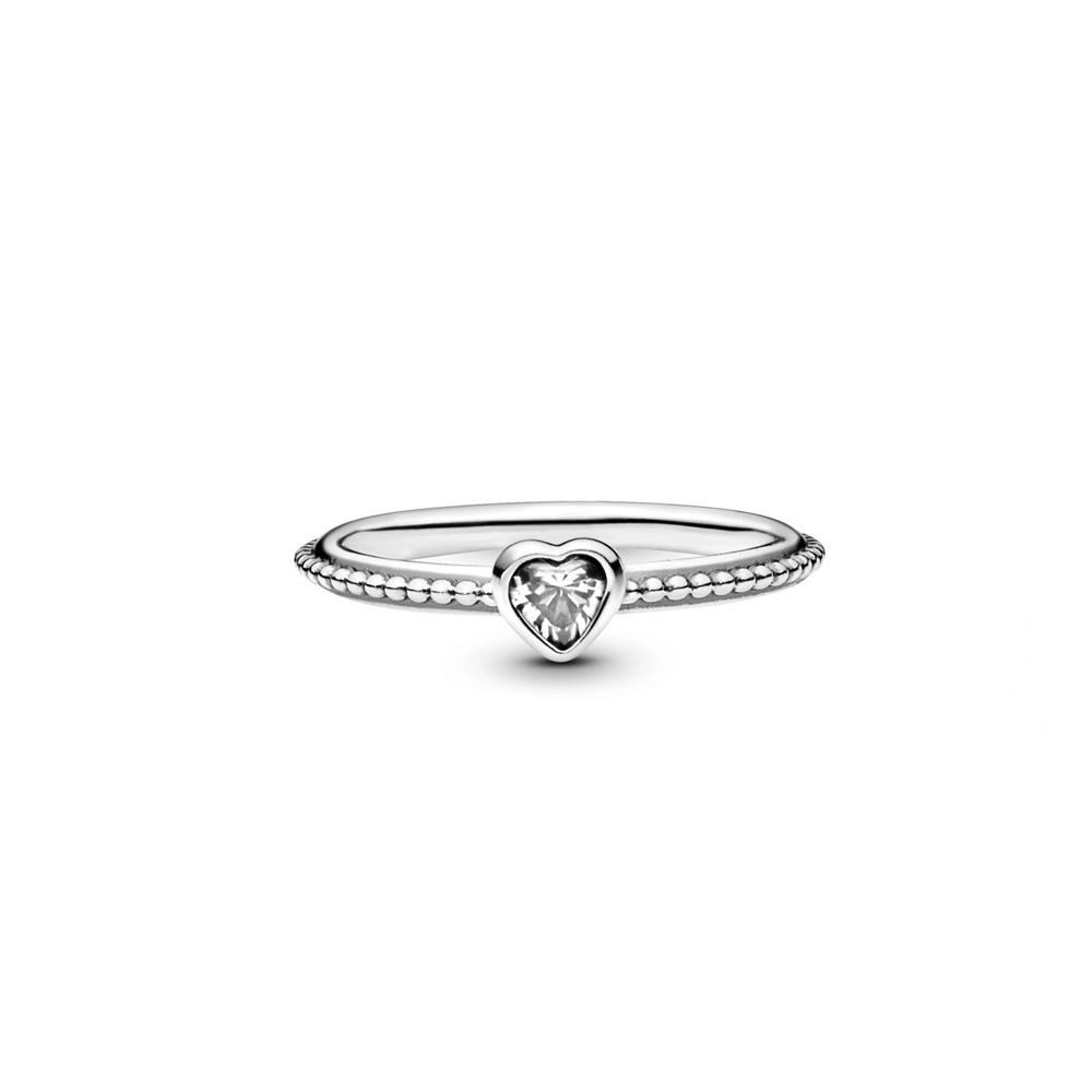 טבעת מכסף סטרלינג זרקון בצורת לב