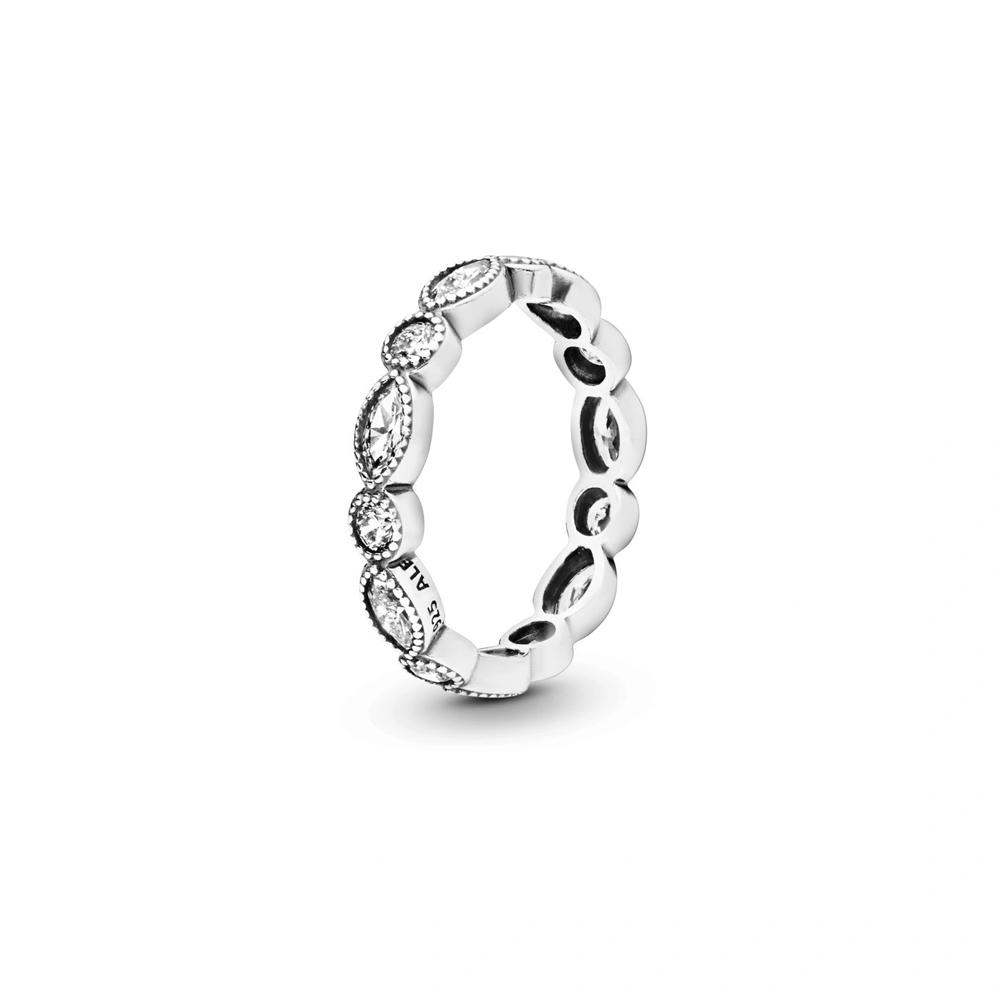 טבעת כסף איטרניטי מעגלים קטנים ואובלים בשיבוץ זרקונים