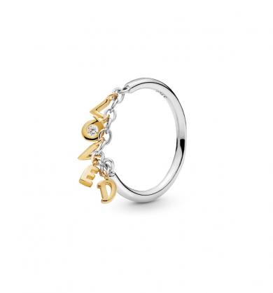 טבעת כסף בשילוב SHINE מילות אהבה