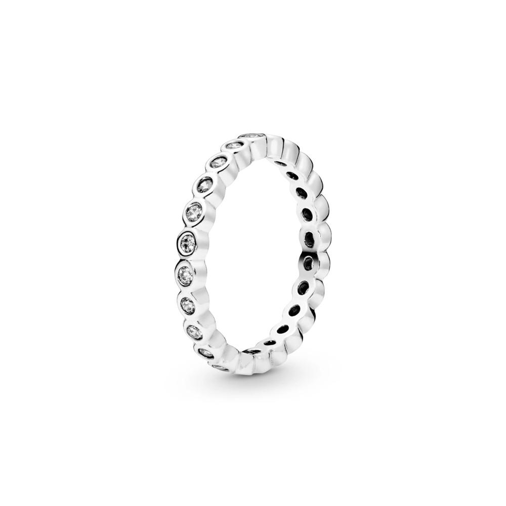 טבעת כסף איטרניטי מעגלים קטנים עוקבים בשיבוץ זרקונים