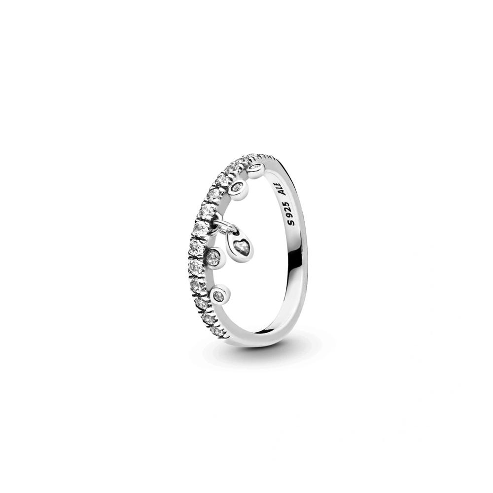 טבעת כסף שנדליר טיפות הטל