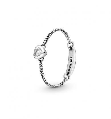 טבעת מכסף סטרלינג בשיבוץ זרקון לב נוצץ