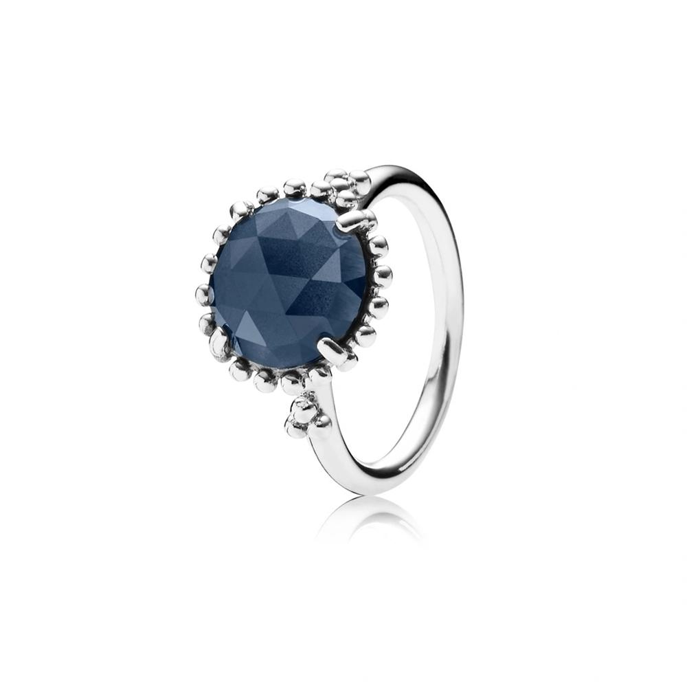 טבעת שעת חצות כסף סטרלינג בשיבוץ קריסטל כחול רויאל