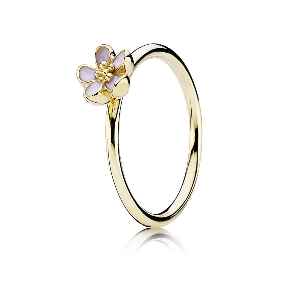 טבעת זהב עם פרח אמייל ורוד