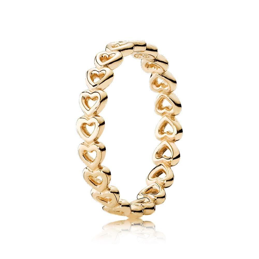 טבעת זהב 14K לבבות חלולים עוקבים