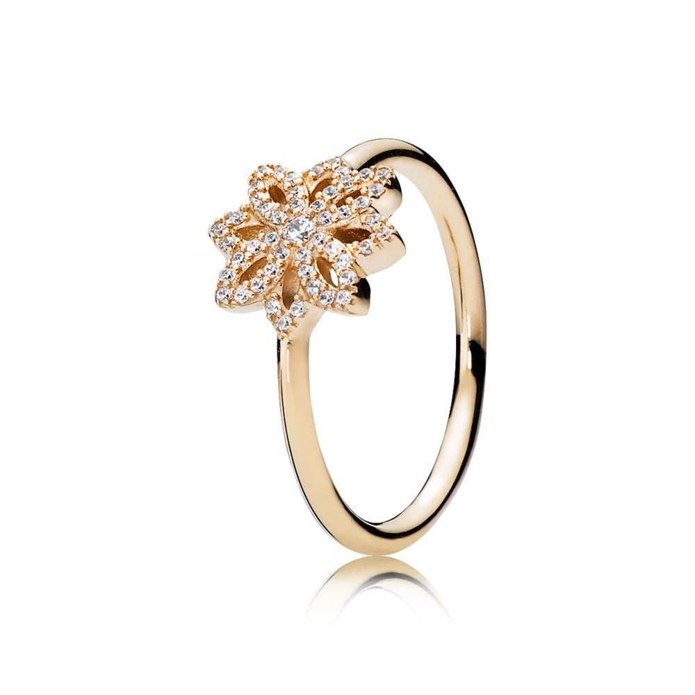 טבעת זהב תחרה פרחונית