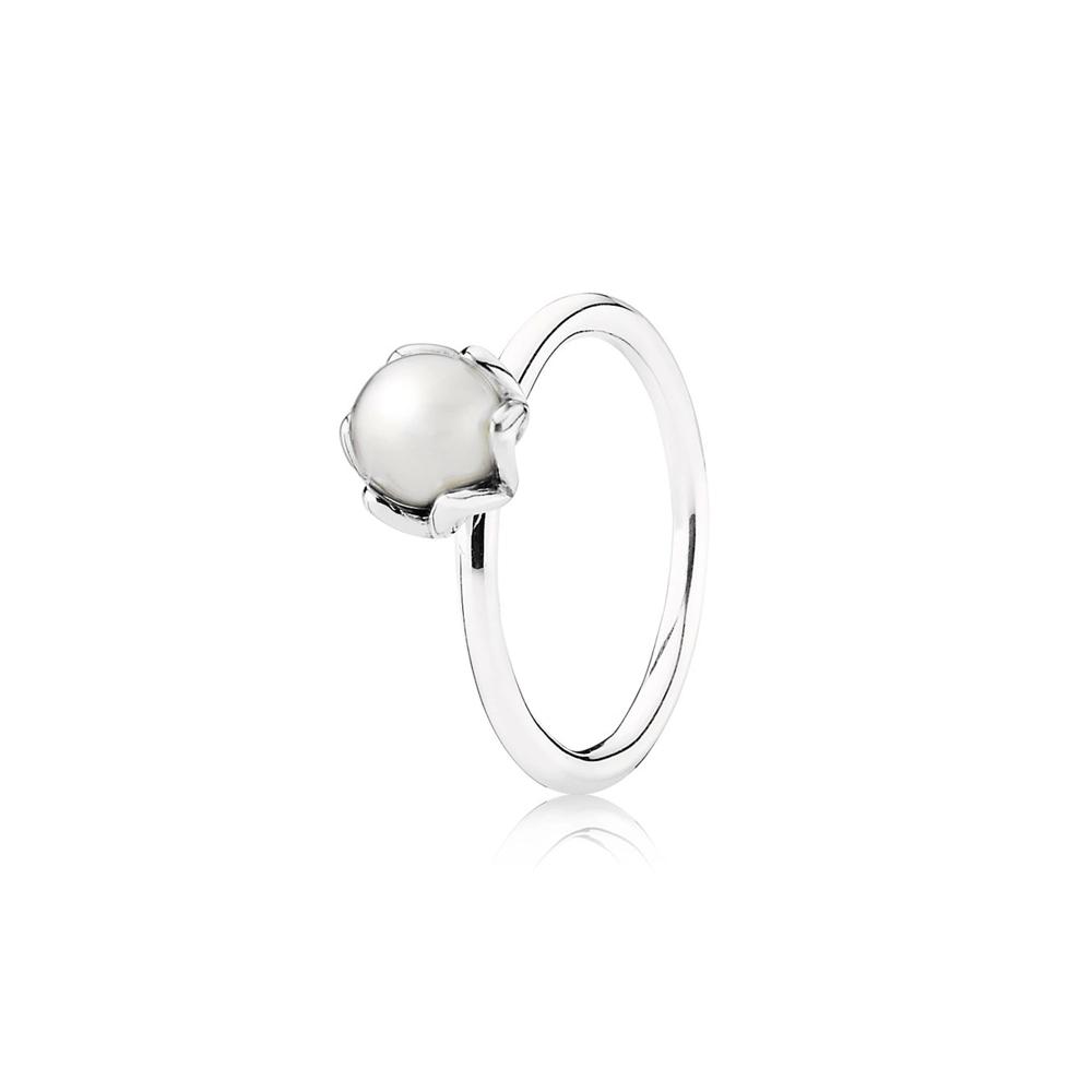 טבעת מכסף סטרלינג עם פנינה לבנה