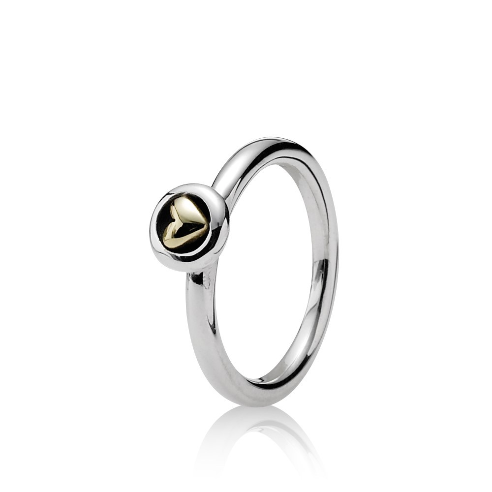 טבעת כסף עם לב זהב 14K