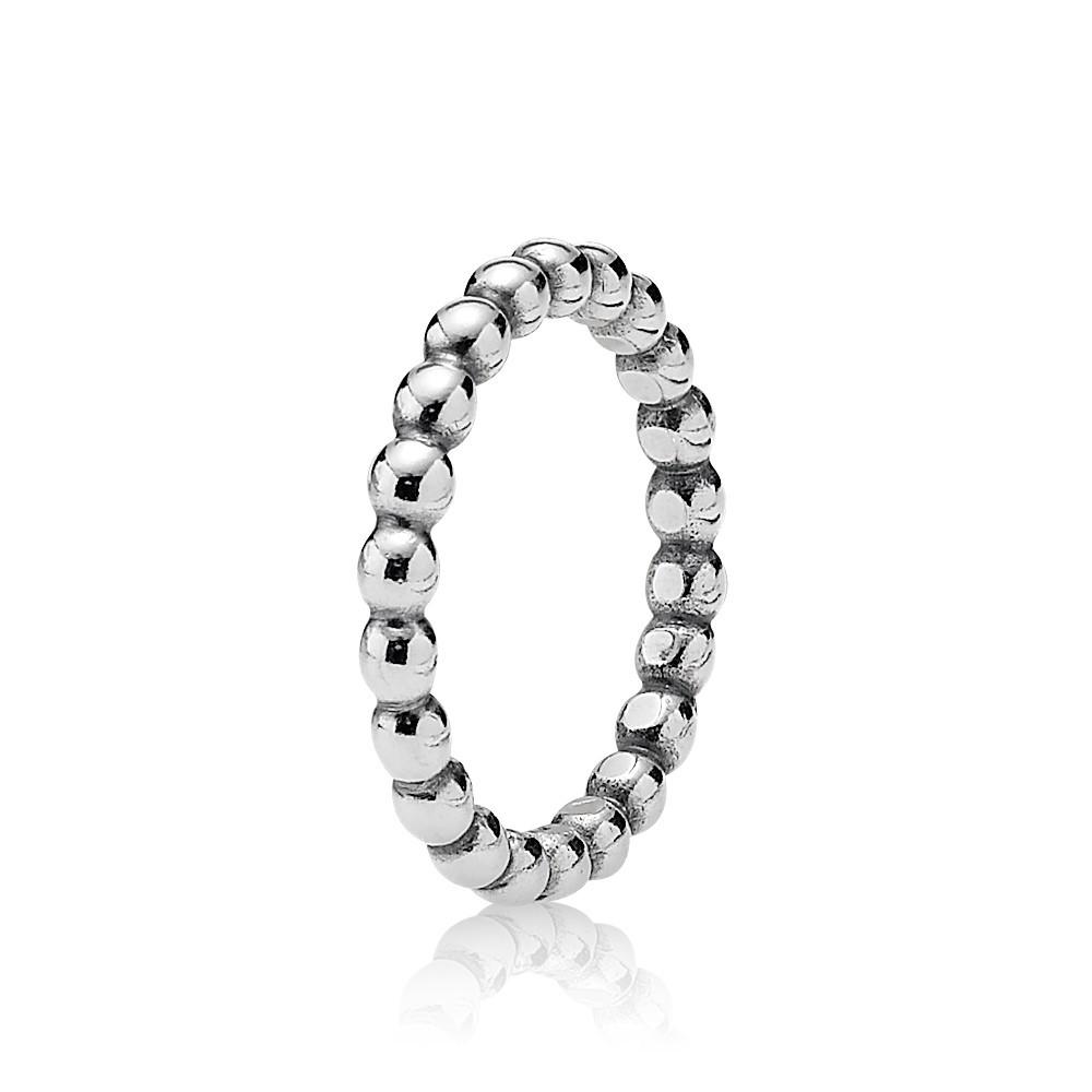 טבעת כסף כדורים עוקבים עבה