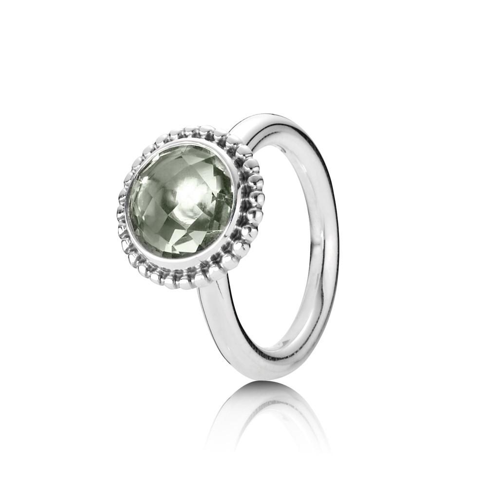 טבעת כסף קווארץ ירוק