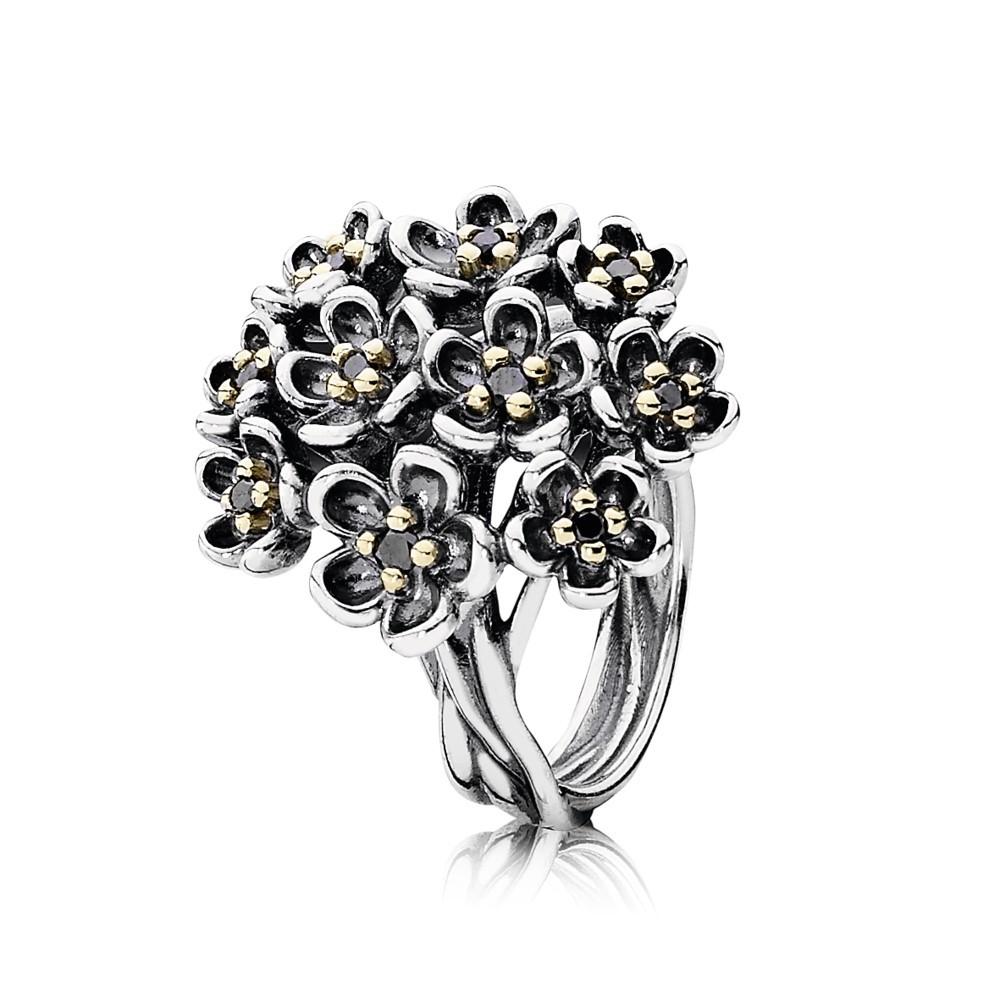 טבעת כסף זר פרחים נקודות זהב וספינל שחור