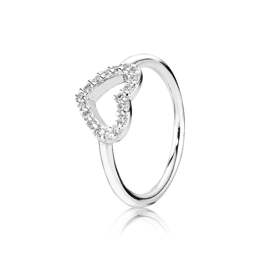 טבעת כסף לב חלול משובצת בזירקונים