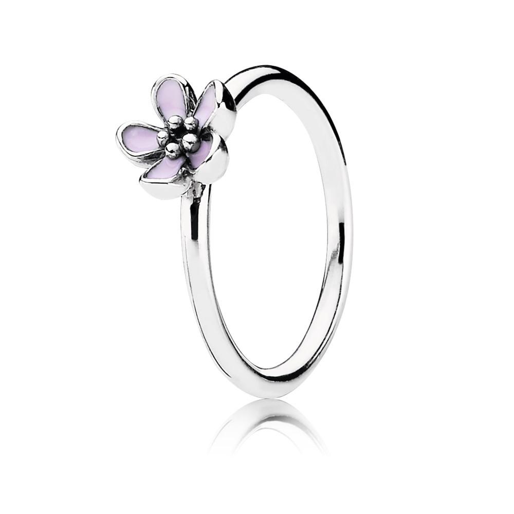 טבעת מכסף סטרלינג עם פרח אמייל ורוד