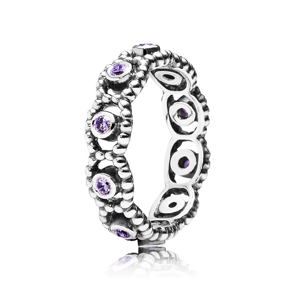 טבעת כסף עם סט זרקונים סגולים