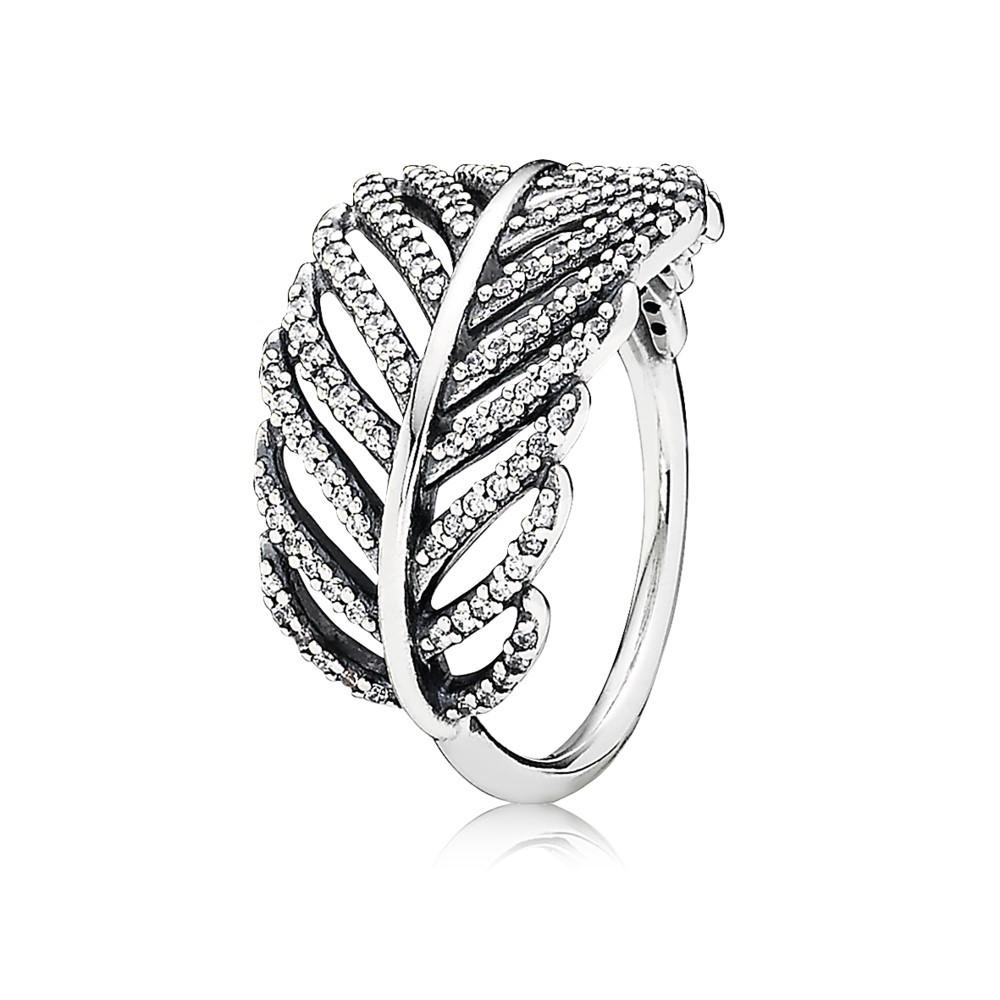טבעת כסף נוצה בשיבוץ מיקרו פאווה