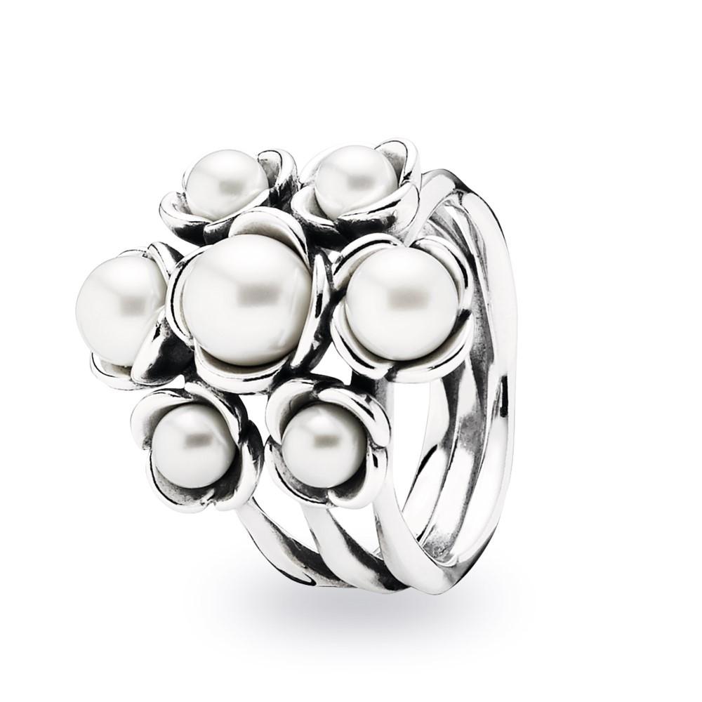 טבעת כסף עם פנינים
