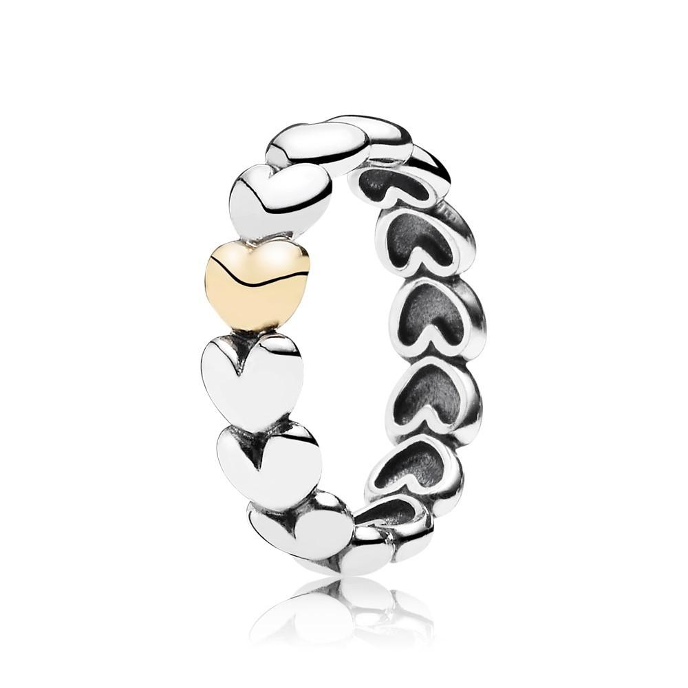 טבעת כסף וזהב לבבות רומנטיים