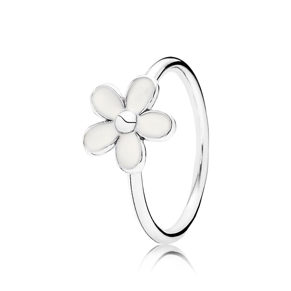 טבעת כסף חרצית לבנה