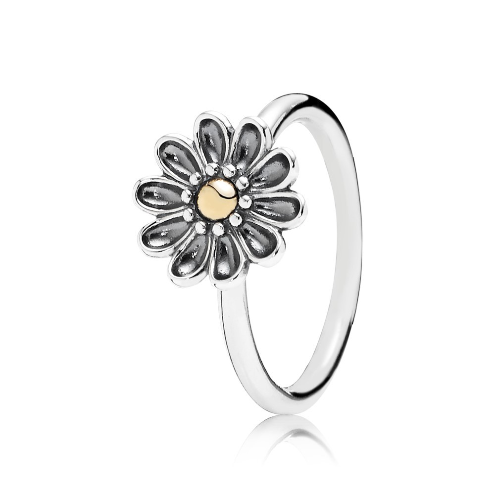 טבעת כסף פרח עדין בשילוב 14K