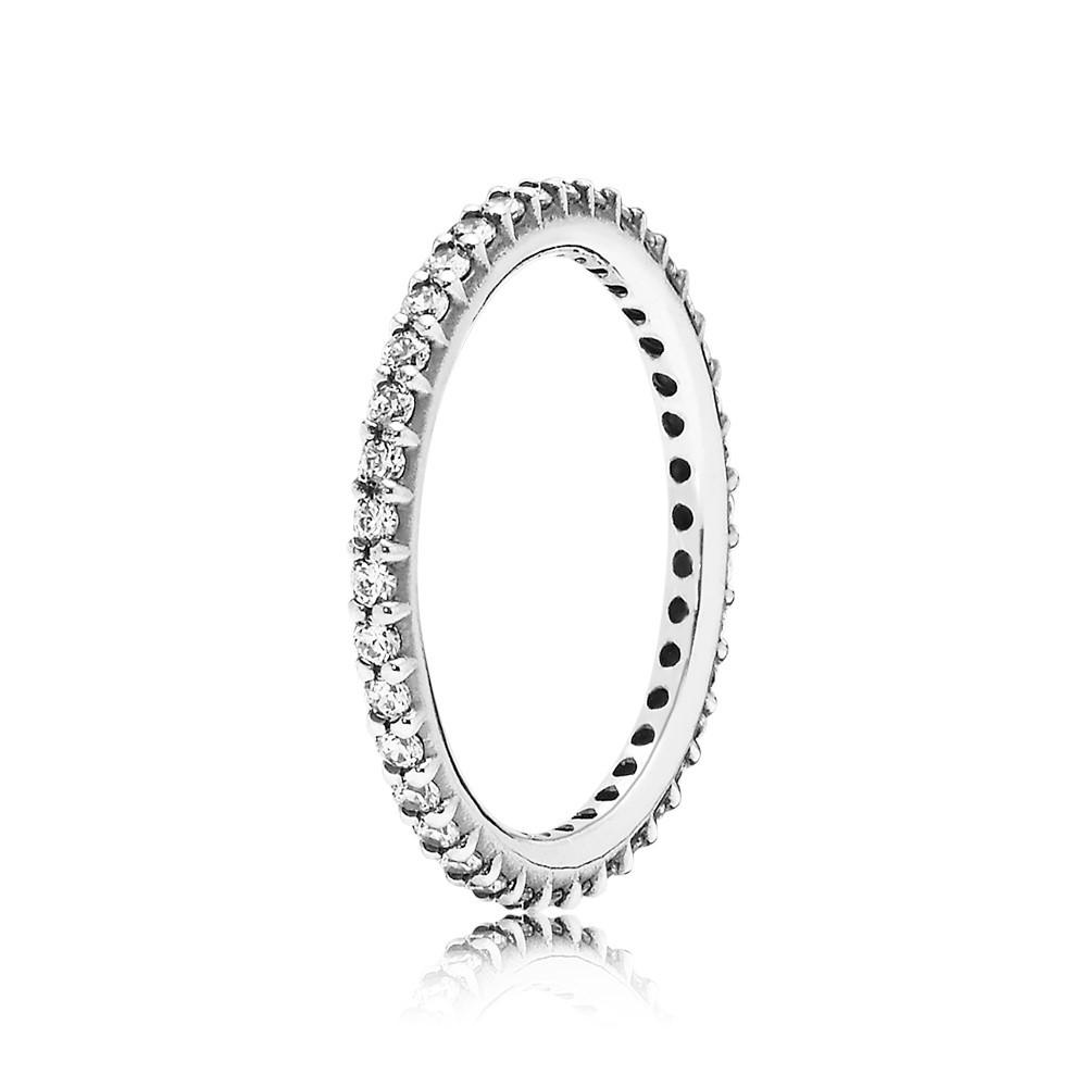 טבעת כסף דקה פאווה לבן