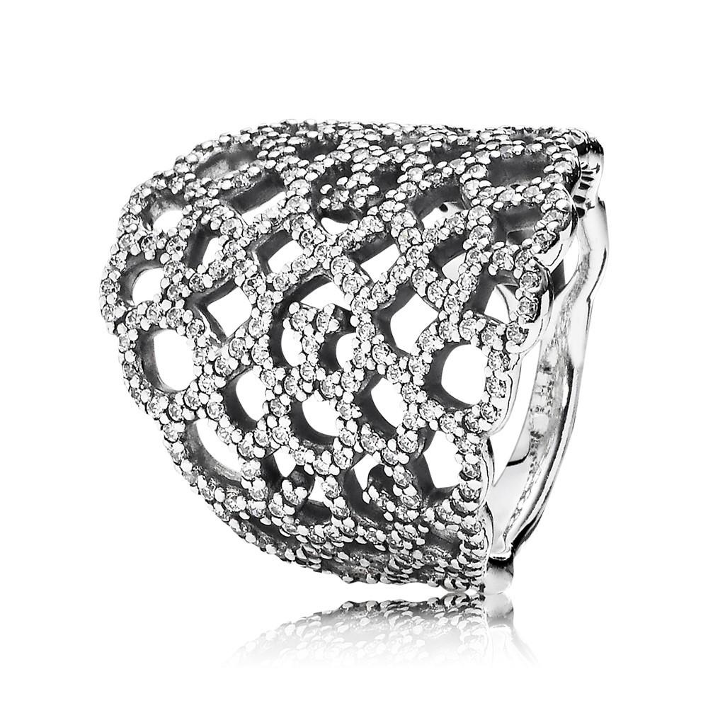 טבעת כסף תחרה נוצצת משובצת זרקונים
