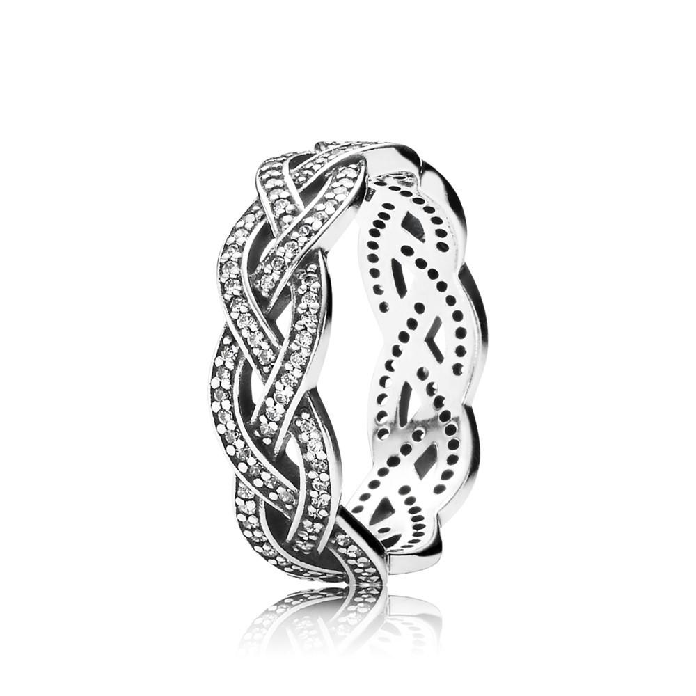 טבעת צמה נוצצת כסף סטרלינג משובץ זרקונים