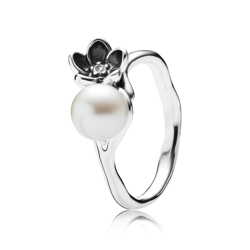 טבעת כסף פריחה מיסטית אמייל שחור בשילוב פנינה