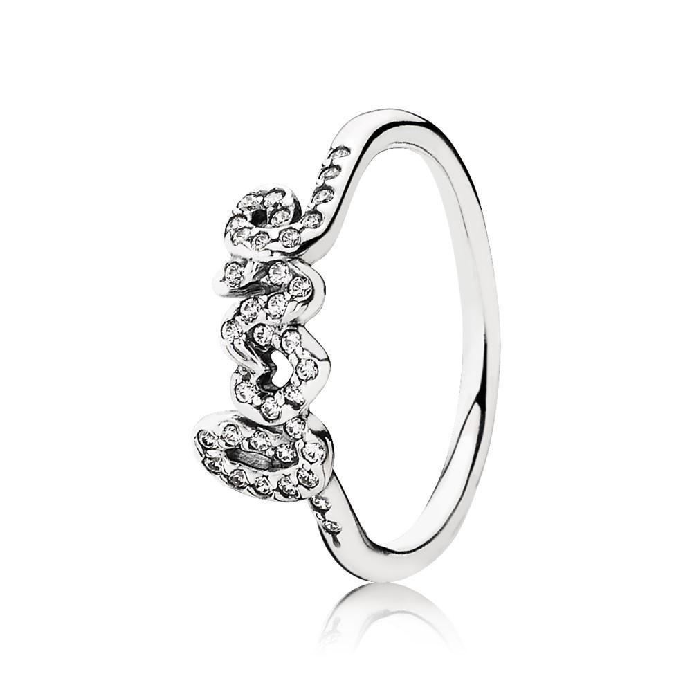 טבעת כסף חתימת אהבה בשיבוץ זרקונים