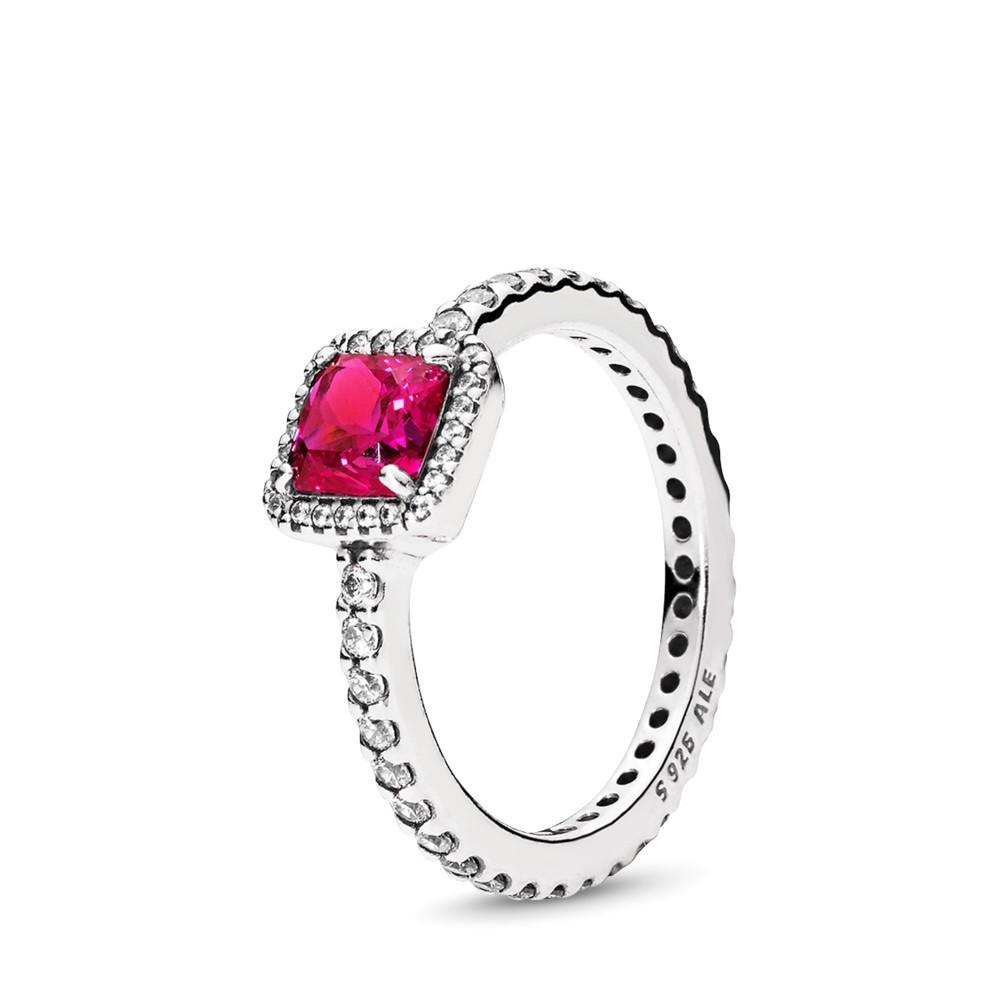 טבעת כסף אלגנטיות על זמנית אדומה