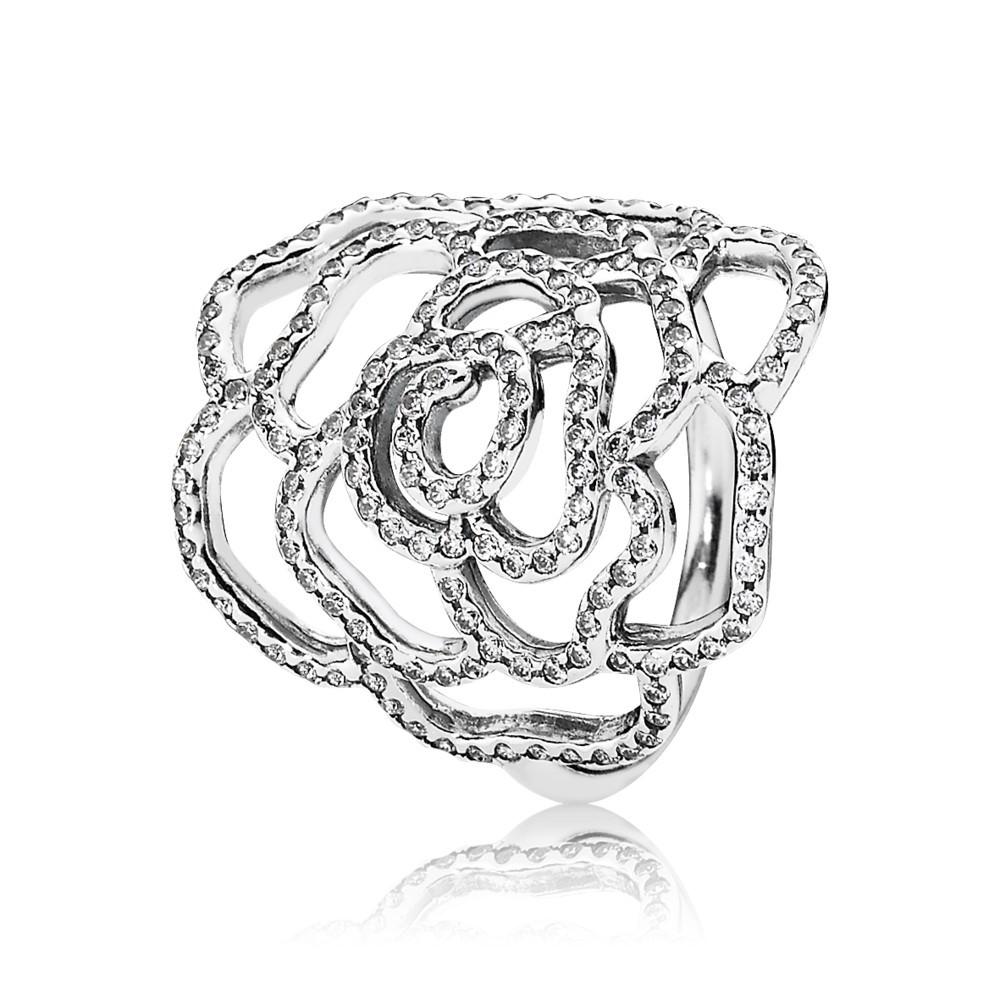טבעת הצהרה ורד מנצנץ מכסף סטרלינג בשיבוץ זרקונים