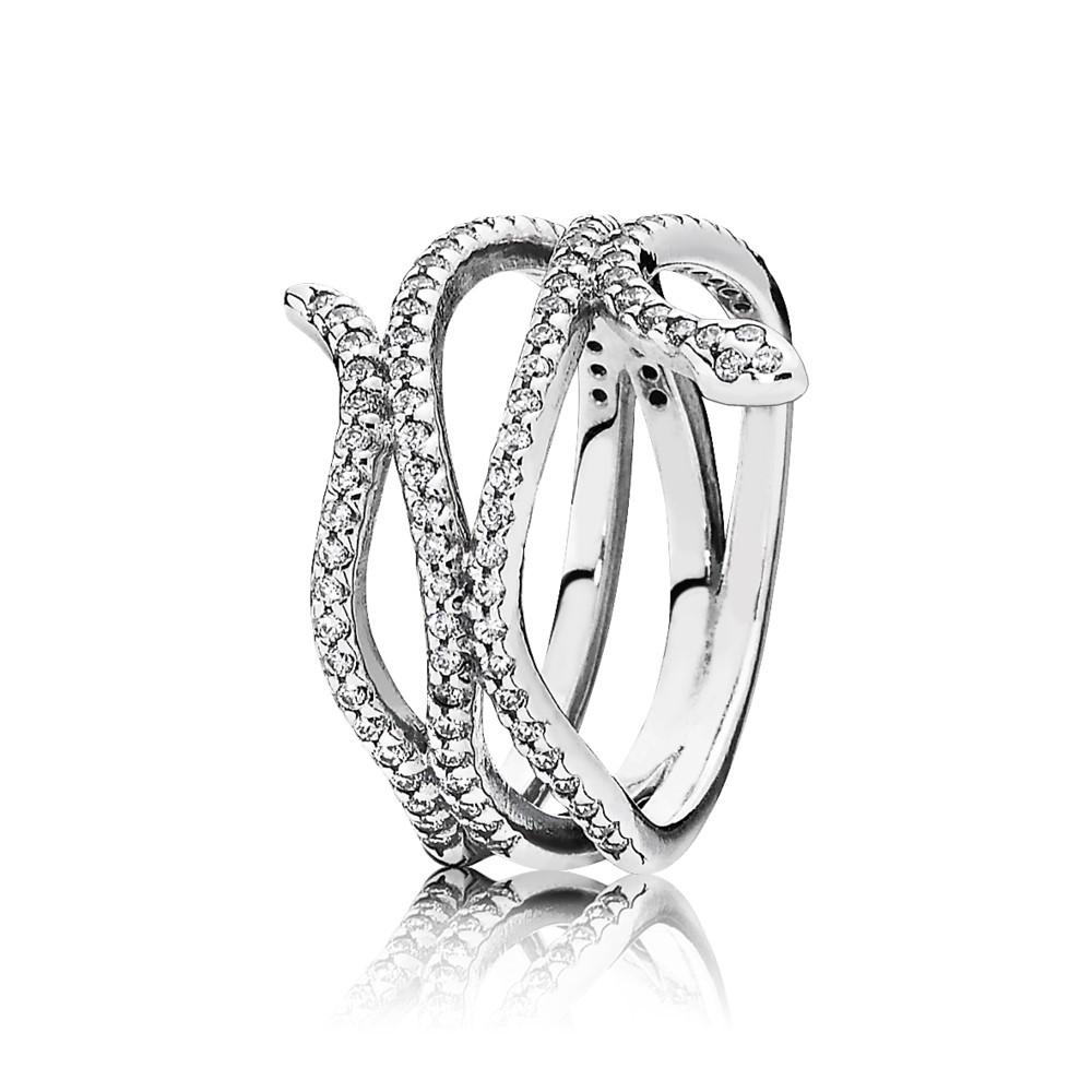 טבעת כסף נחש מתפתל בשיבוץ זרקונים
