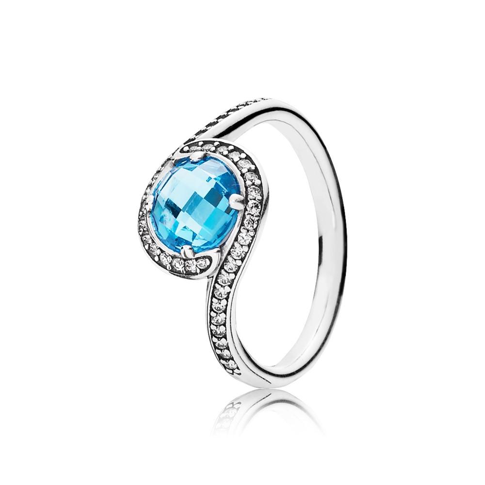 טבעת כסף קורנת כחול שמיים