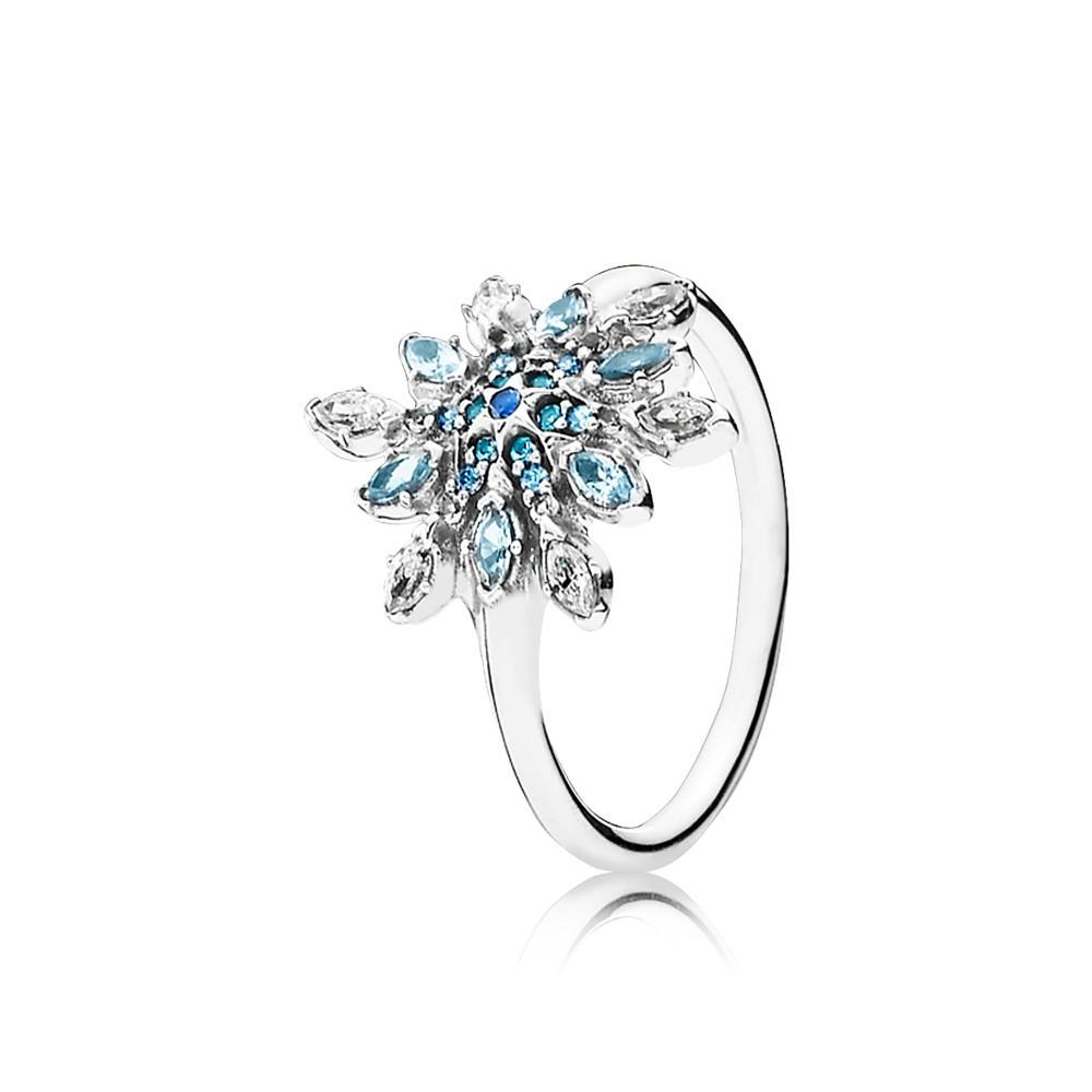 טבעת כסף פתית שלג קפוא