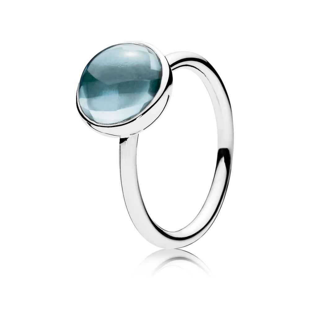 טבעת כסף טיפת טל בכחול אקווה