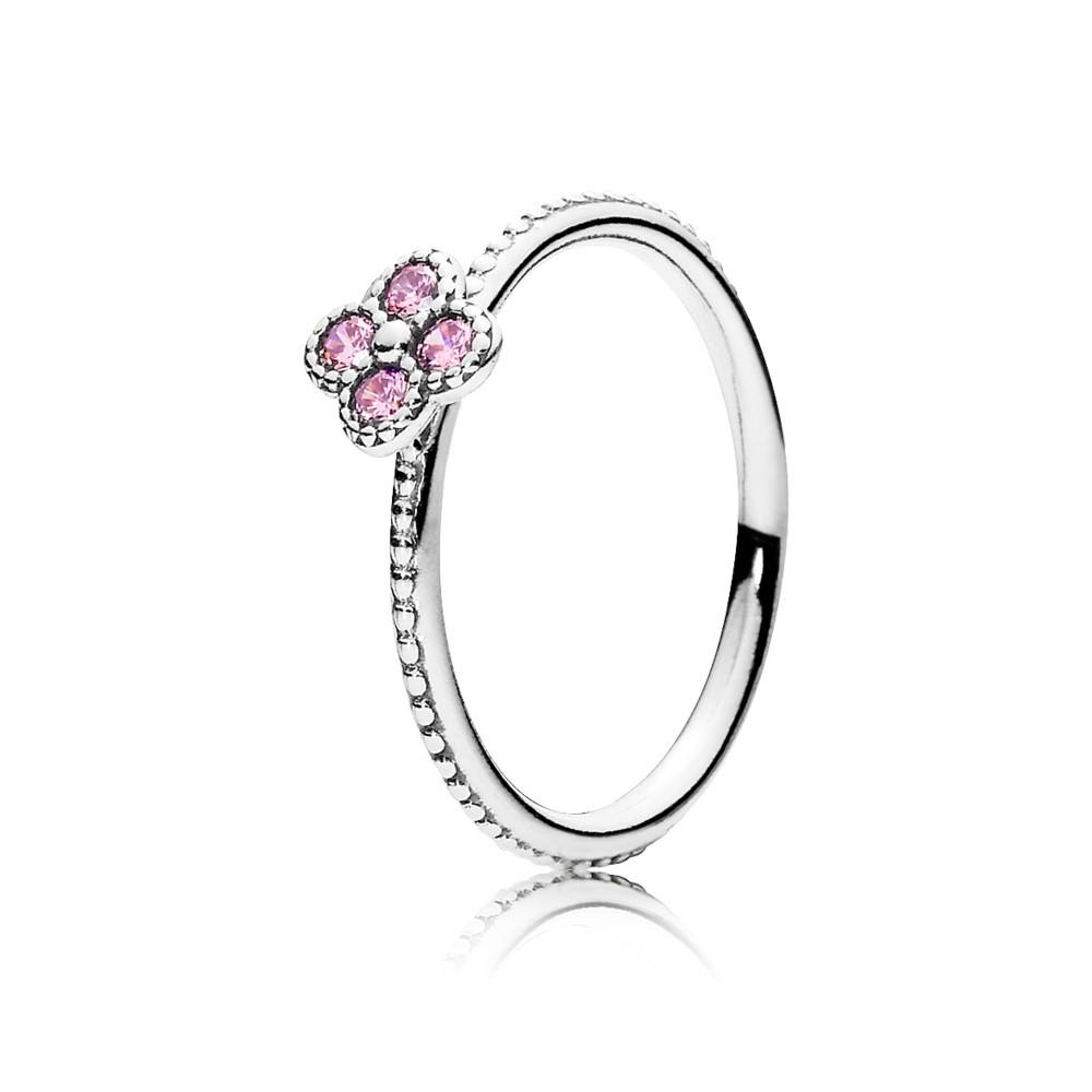 טבעת כסף פריחה אוריינטלית ורודה