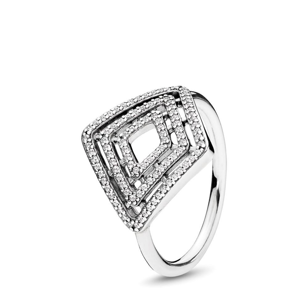 טבעת כסף קווים גיאומטריים