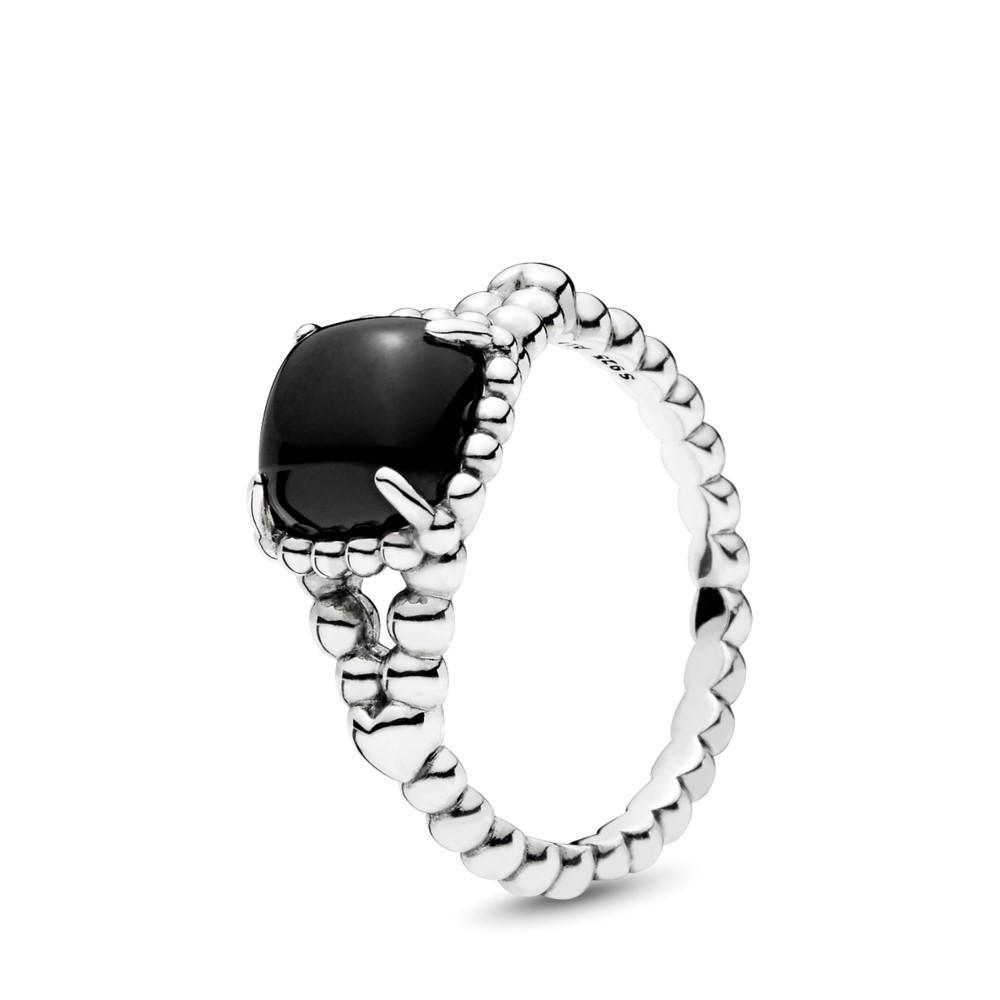 טבעת מכסף סטרלינג בשיבוץ קריסטל שחור
