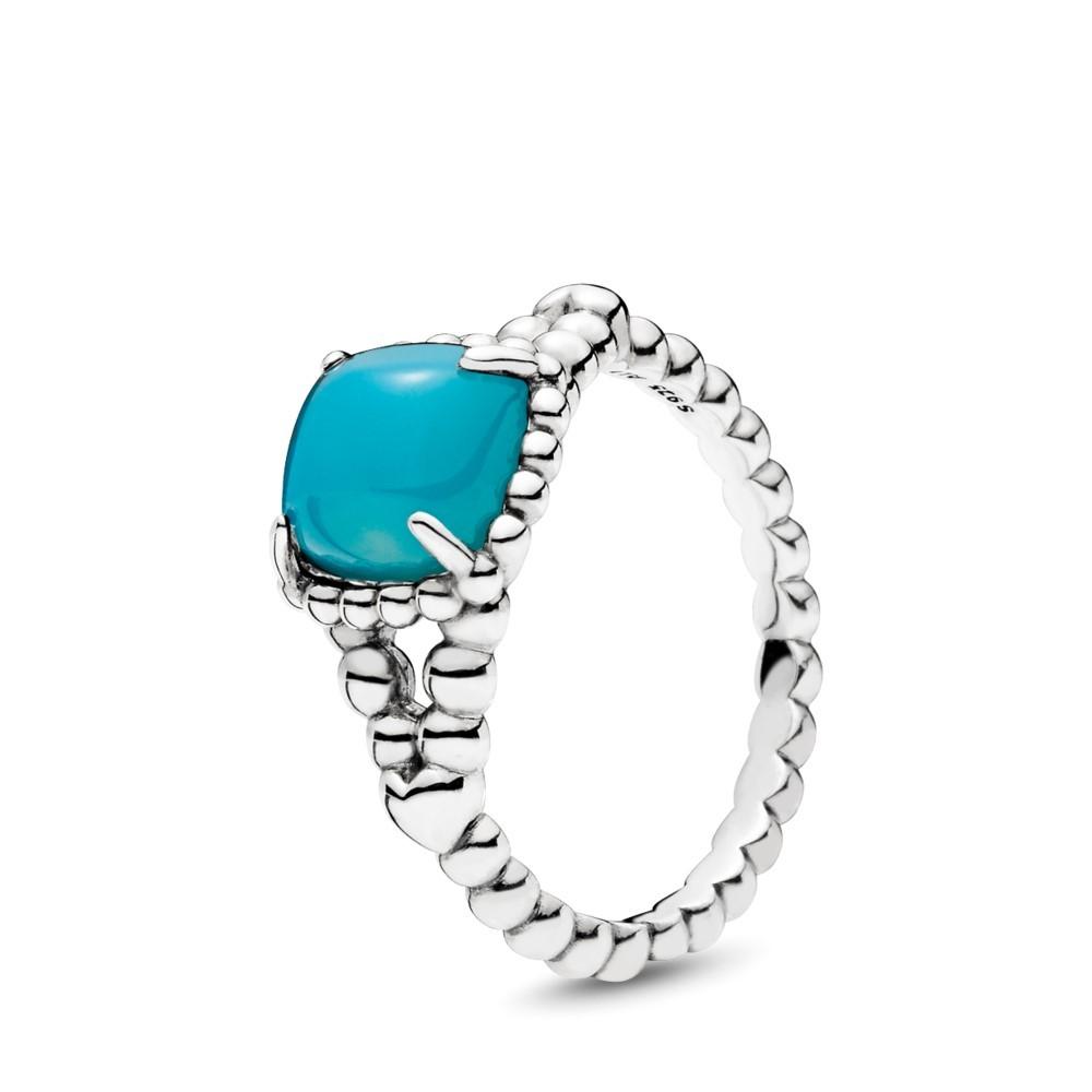 טבעת מכסף סטרלינג בשיבוץ קריסטל כחול סקובה