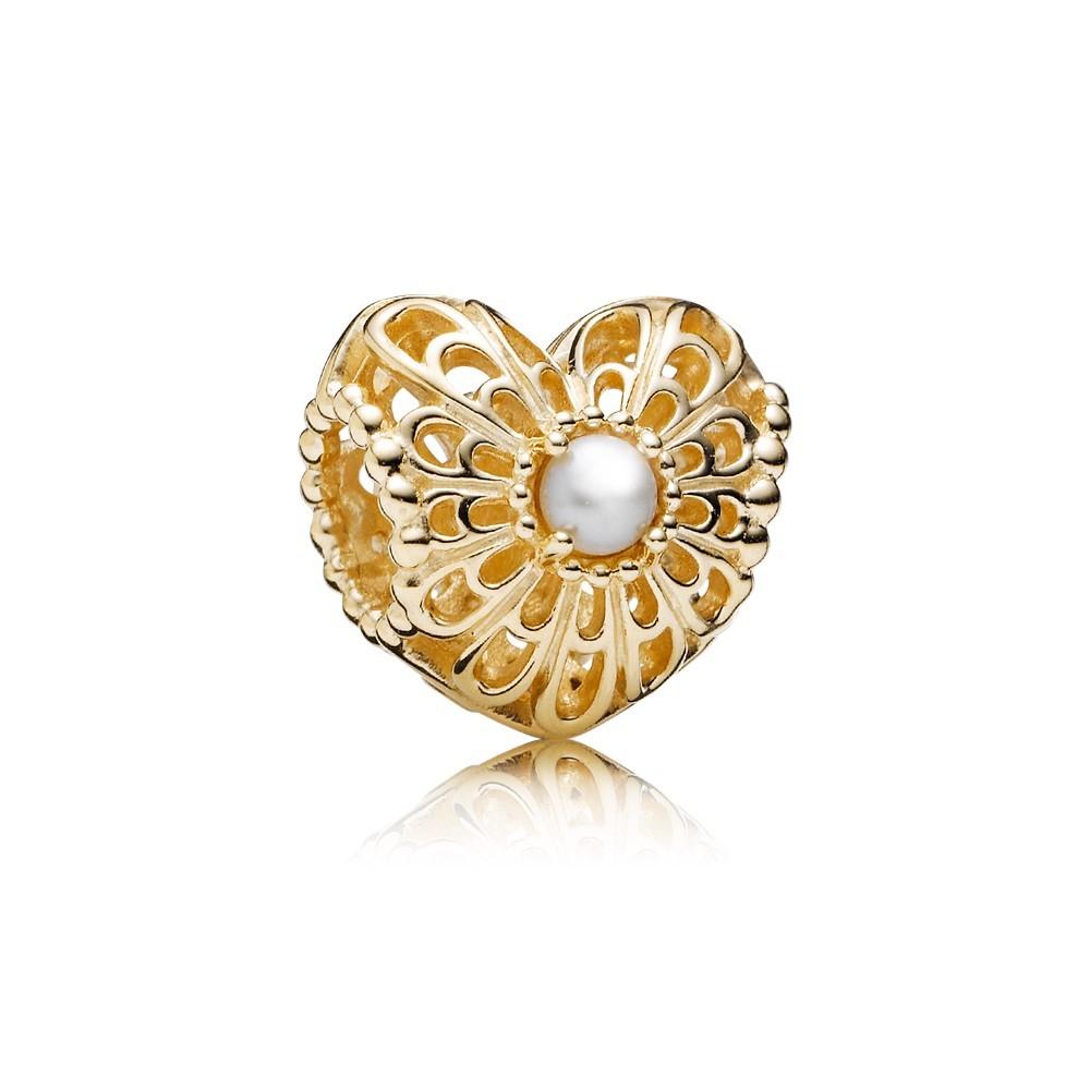 צארמ זהב חלול לב תחרה וינטג בשילוב פנינה