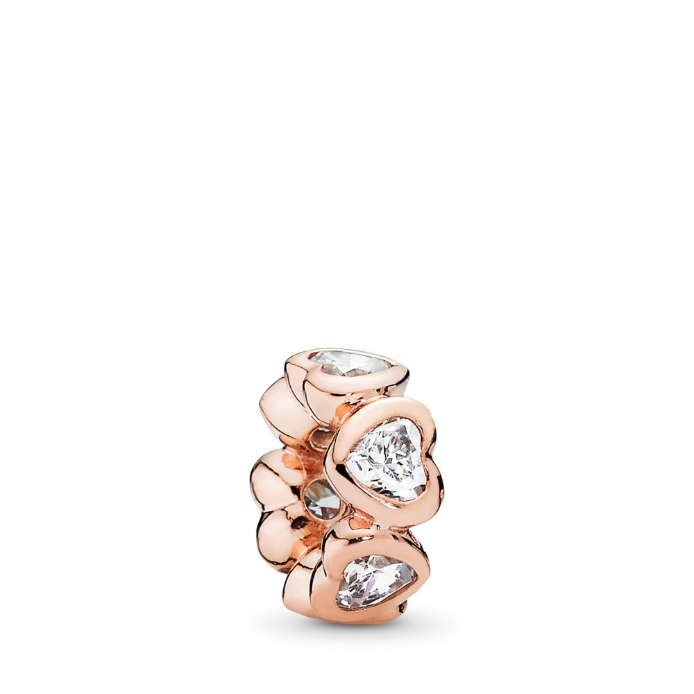 Heart PANDORA Rose spacer with cubic zirconia
