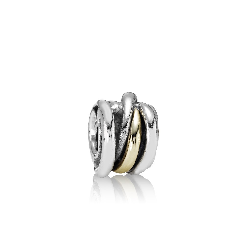 Abstract silver charm with 14k