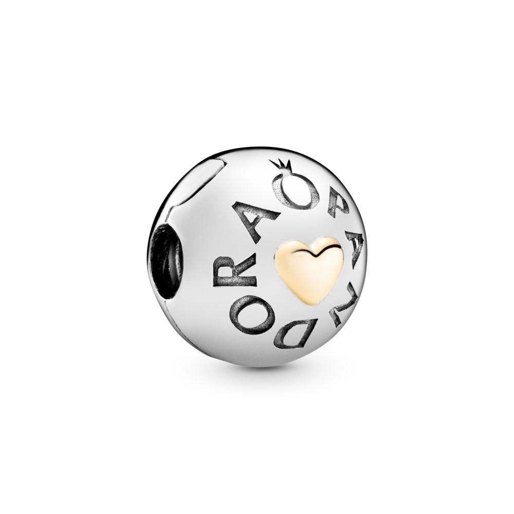 קליפס כסף לוגו PANDORA בשילוב 14 קראט