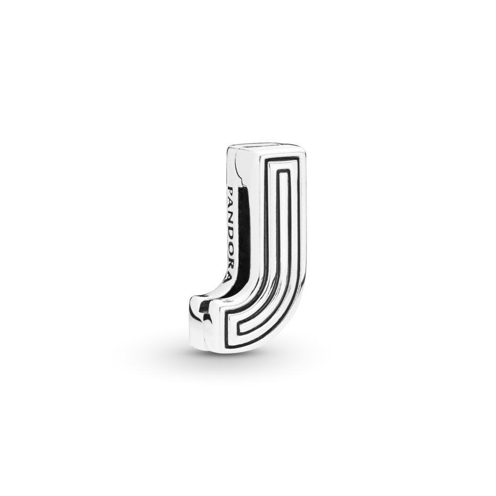 קליפס כסף שטוח האות J