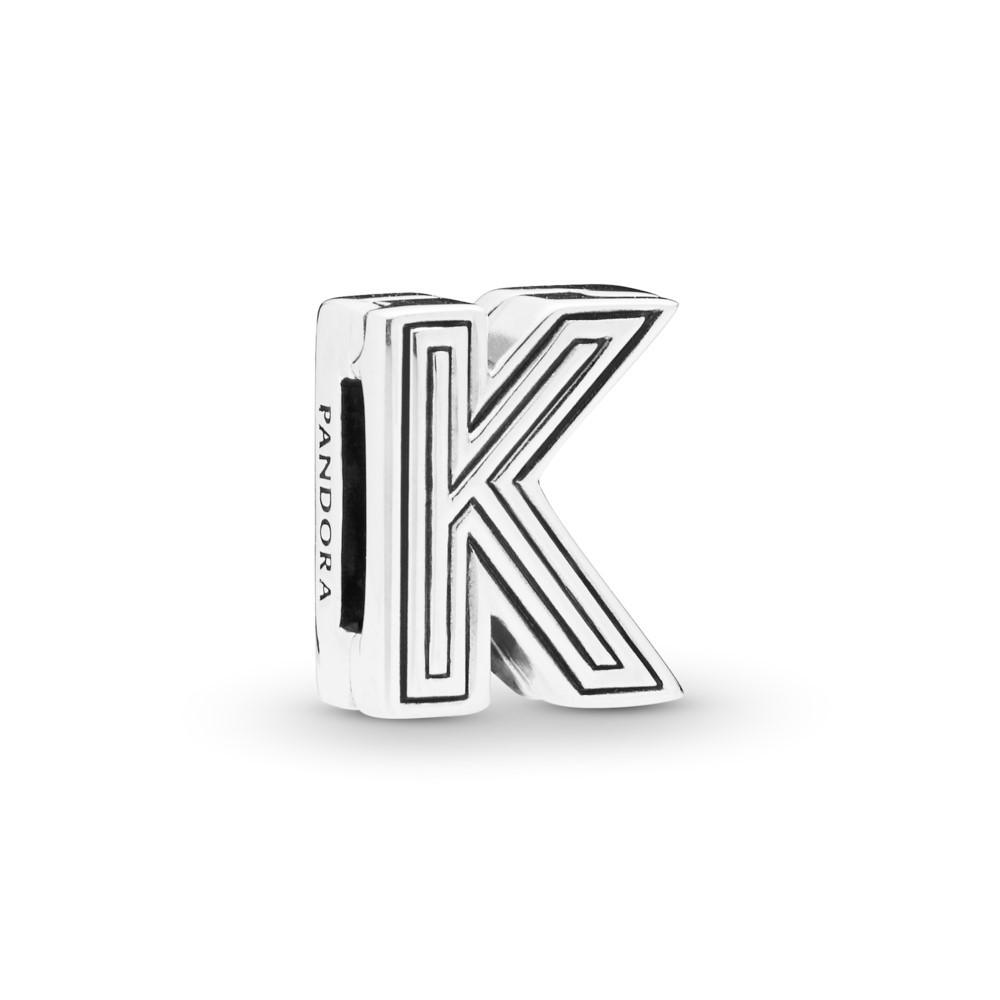 קליפס כסף שטוח האות K
