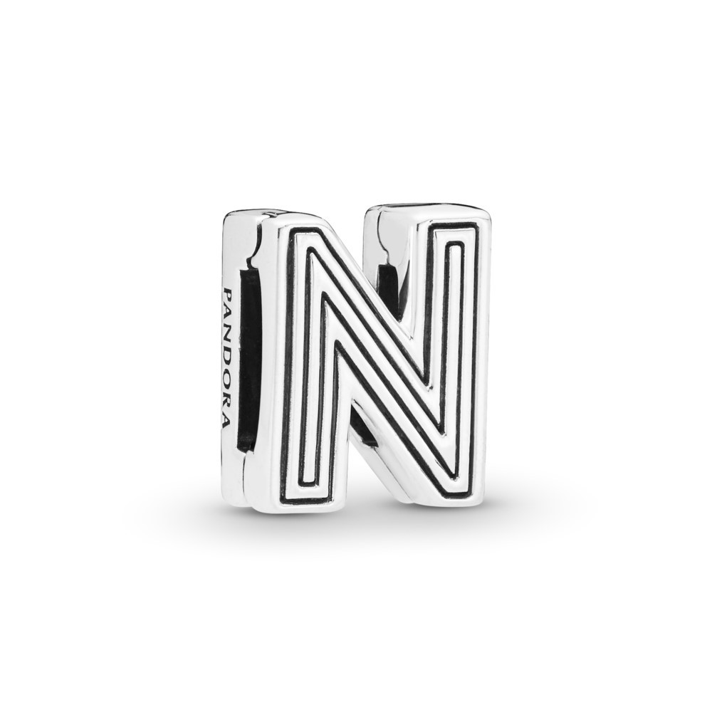 קליפס כסף שטוח האות N