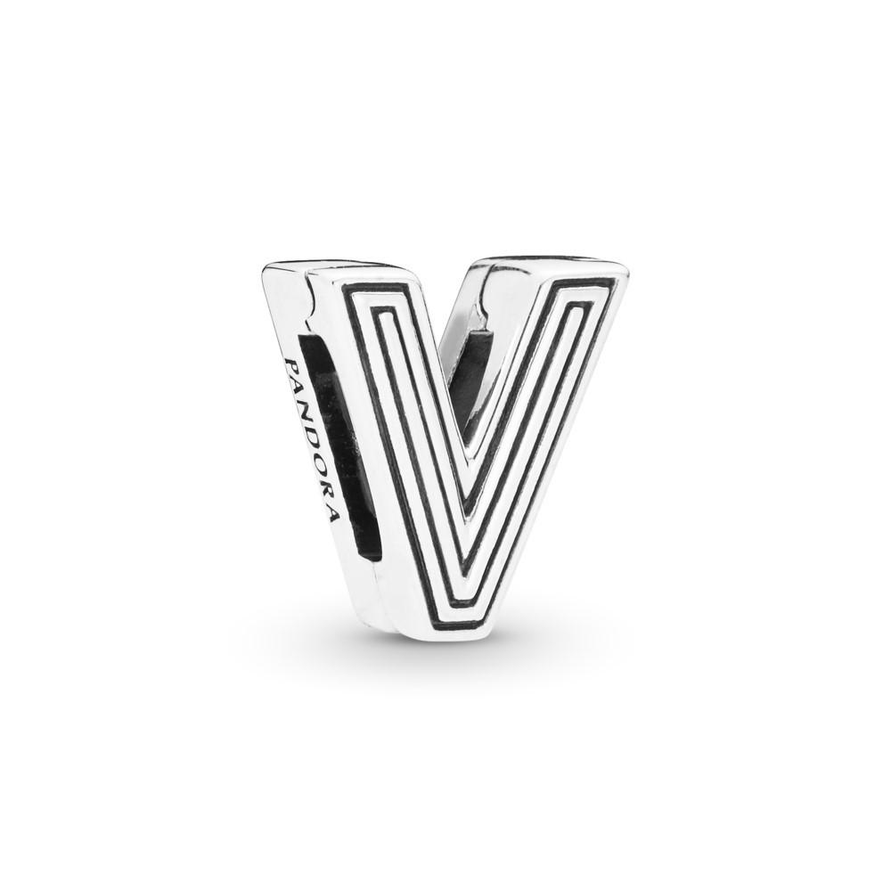 קליפס כסף שטוח האות V